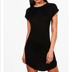 Black Curved Hem T-Shirt Dress